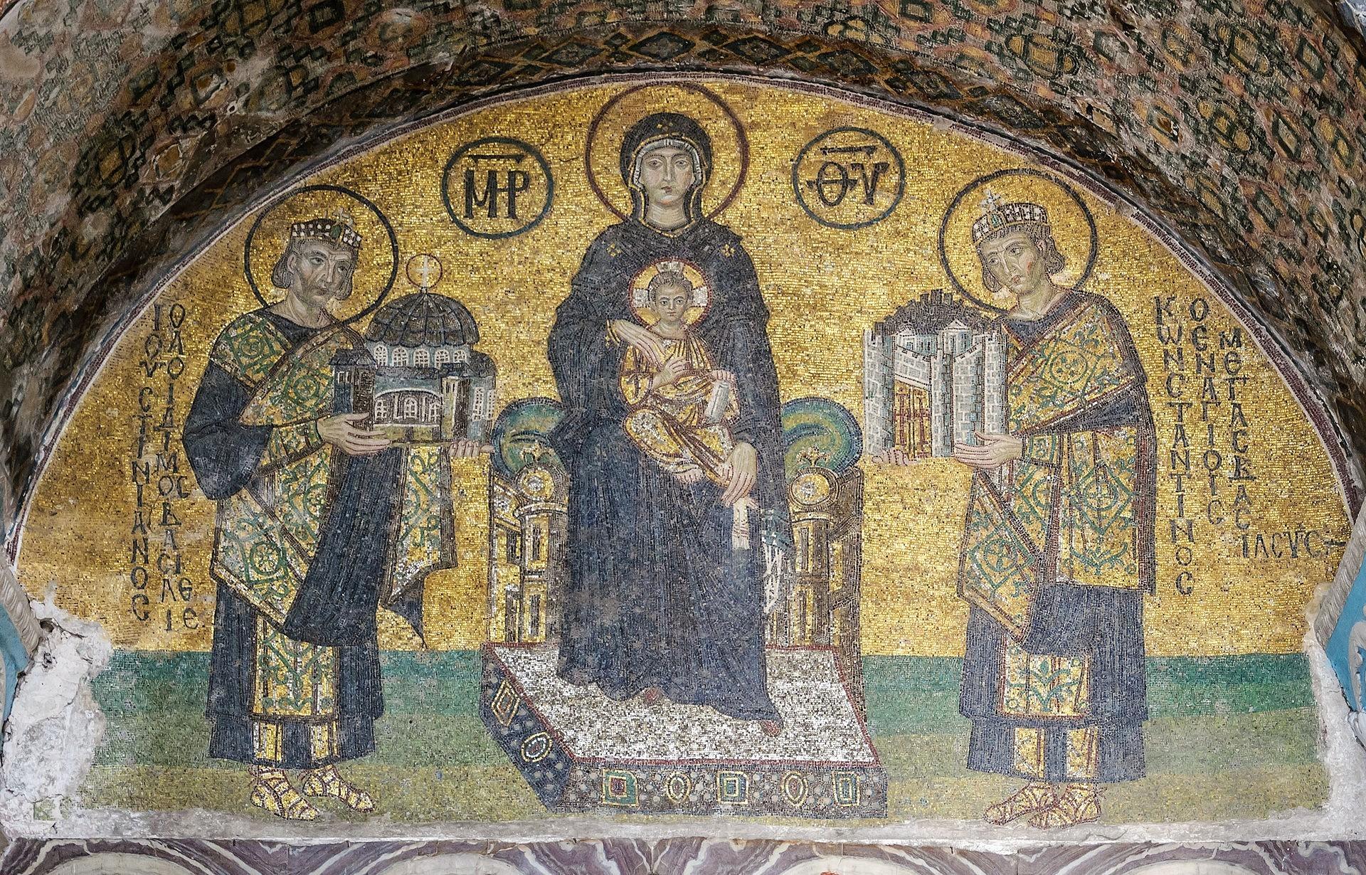 أيقونة مريم العذراء تتوسط قسطنطين الأول وجستينيان الأول