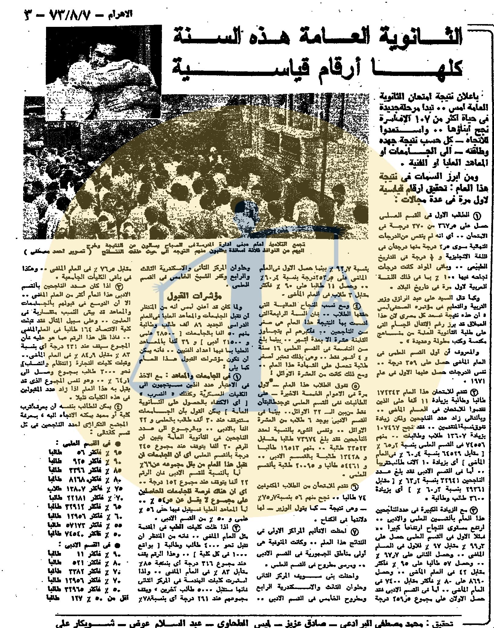 تقرير الأهرام عن نتائج الثانوية العامة 1973 م