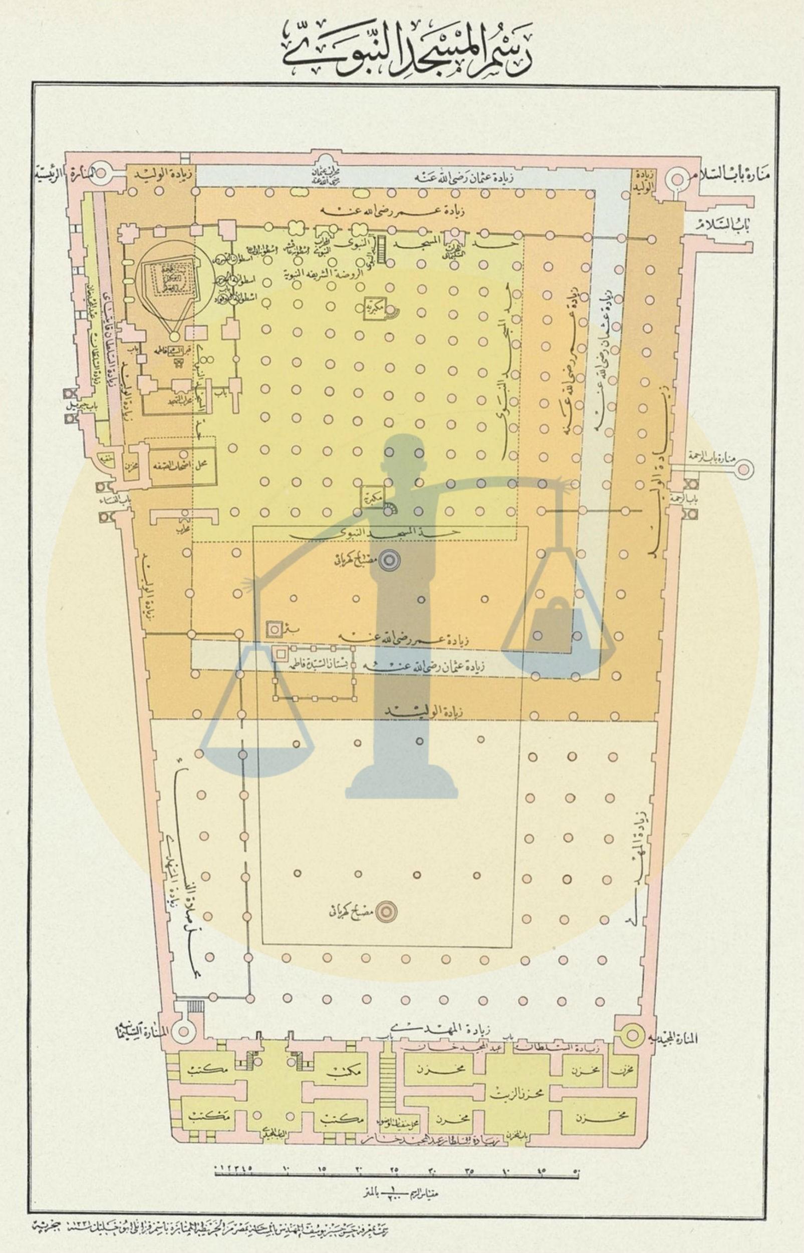 خريطة المسجد النبوي سنة 1903م