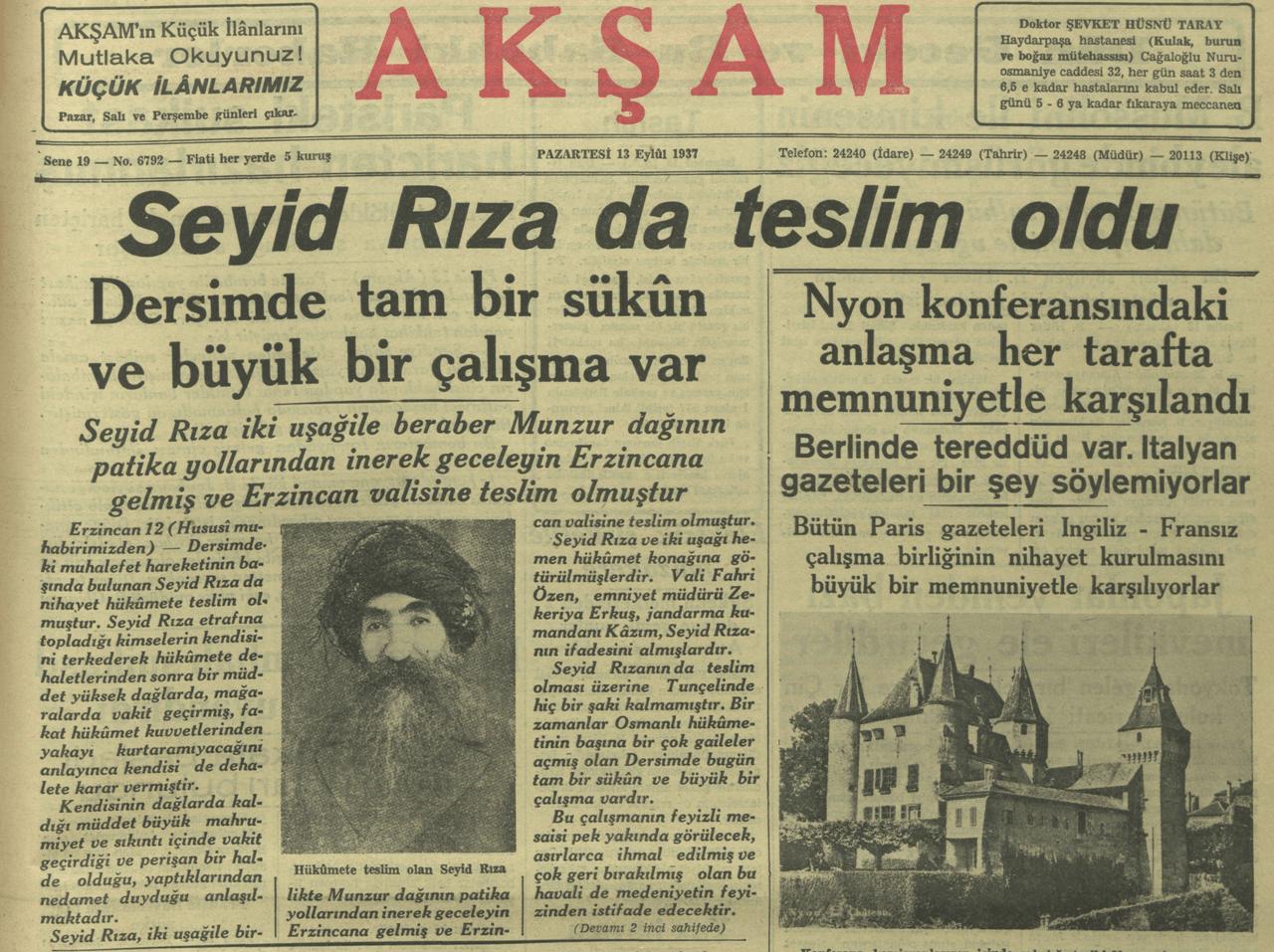 عنوان جريدة أكشام صباح ليلة استسلام سيد رضا عام 1937.