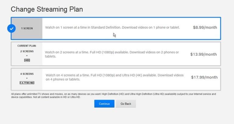 Changing Netflix Plan