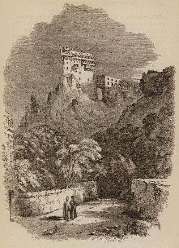 منظر لدير وقناة سيموبترا ، على جبل آثوس ، مأخوذ من شاطئ البحر - كرزون روبرت - 1849