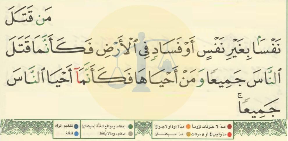 شرح ملون لأحكام تلاوة الآية 32 من سورة المائدة