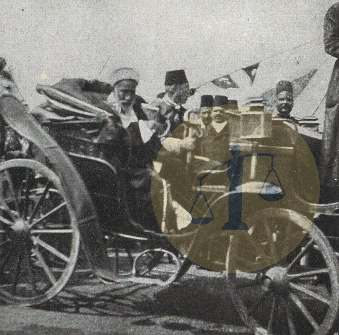 الشريف عون في موكبه وإبراهيم باشا رفعت