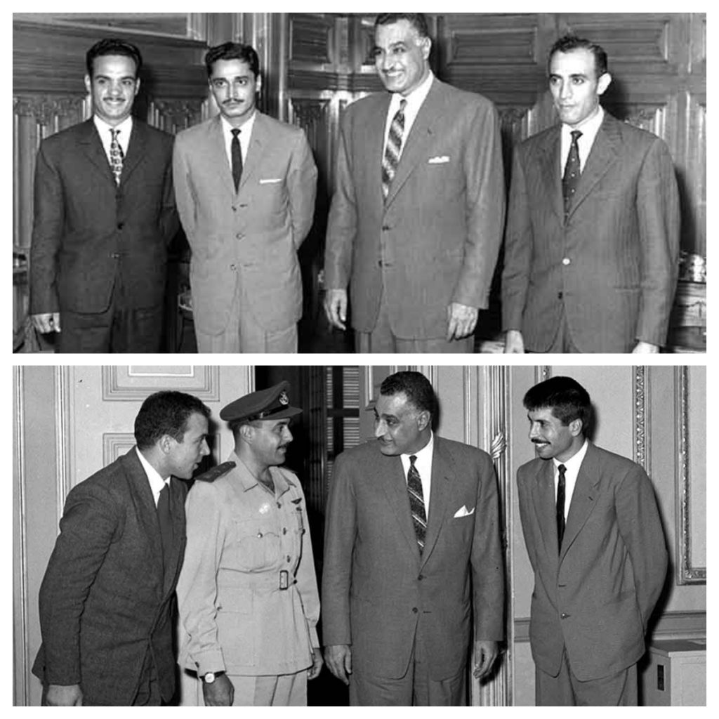 الطيارين السعوديين مع جمال عبدالناصر بالأعلى - والأردنيين أسفلهم